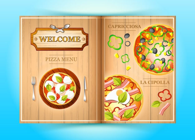 Colorful pizza menu brochure with vegetable olive meat corn pepper and tomato ingredients illustration