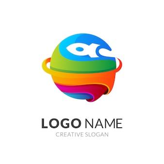 Красочный логотип планеты и ракеты
