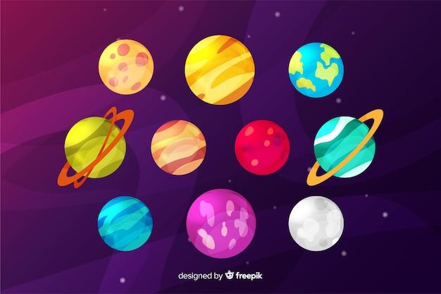 평면 디자인의 화려한 행성 컬렉션