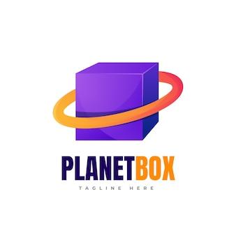 Colorful planet with cube box logo design planet box gradient logo