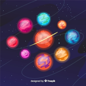Colorful planets from solar system collection