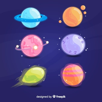 Colorful planets from solar system set