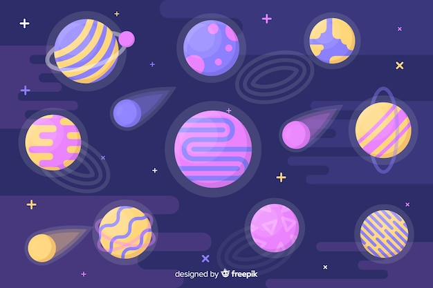 Colorful planets in the solar system collection