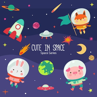 Colorful planets with some cute characters