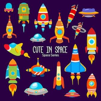 かわいいキャラクターがいるカラフルな惑星
