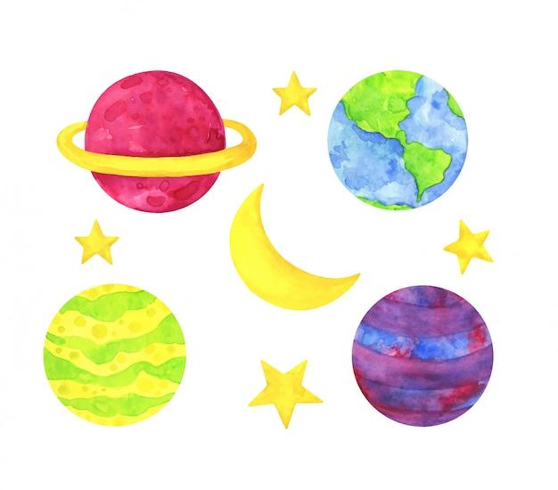 Разноцветные планеты, желтые звезды и луна. детская акварельная иллюстрация.