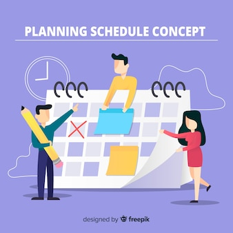 Colorful planning schedule concept with flat design