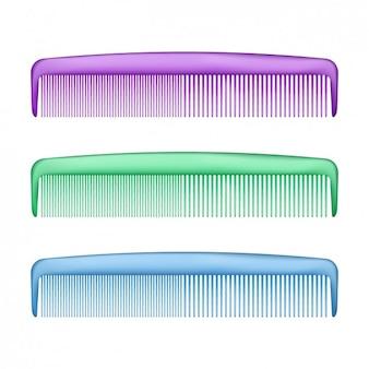 カラフルなプラスチック製の櫛セット