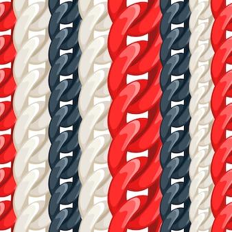 カラフルなプラスチックまたは金属チェーンのシームレスなパターン。ベージュ、赤、黒の背景。