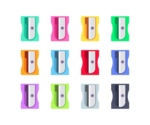 다채로운 플라스틱 연필깎이 세트. 학교 및 사무용품 컬렉션입니다. 흰색 배경에 고립 된 평면 벡터 일러스트 레이 션
