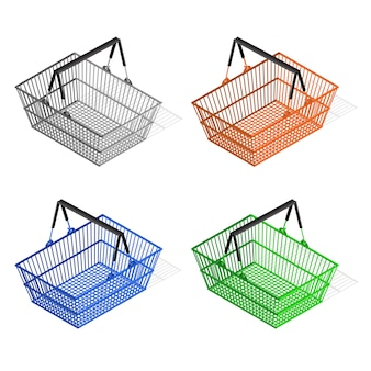 Colorful plastic shopping basket set. equipment for the buyer.