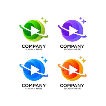 Colorful play button and planet logo design