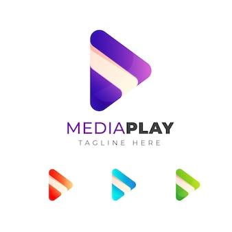 Красочная игра медиа логотип дизайн шаблона. треугольник играть символ дизайн