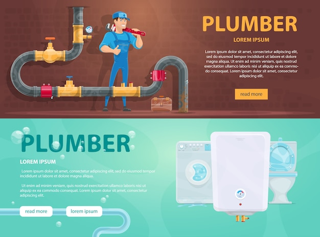 Colorful plumbing horizontal banners