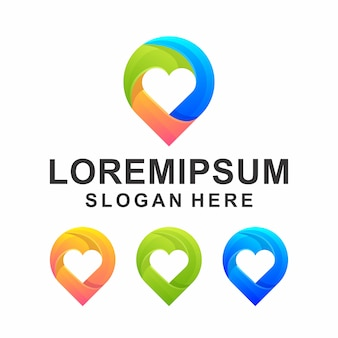 Colorful point with love logo design