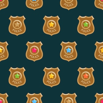 Colorful police badges cartoon pattern.