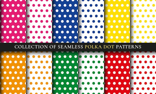 Colorful polka dot seamless pattern set. abstract background collection