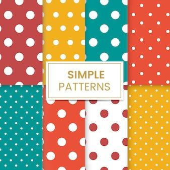 Colorful polka dot seamless pattern set