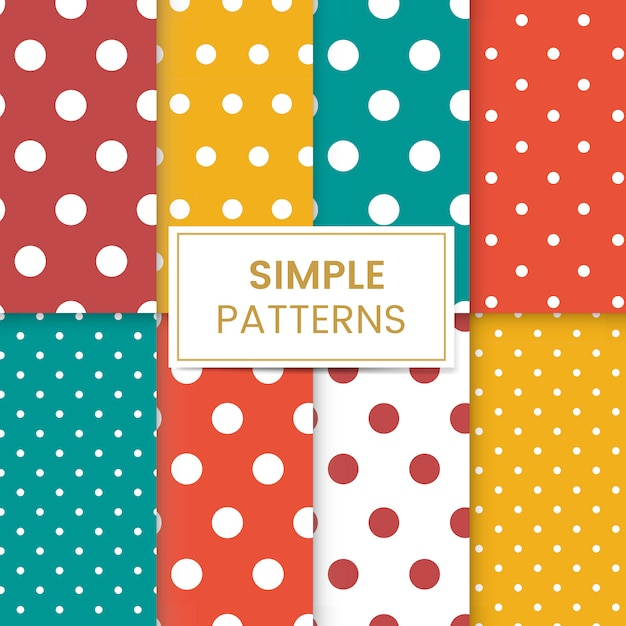 Colorful polka dot seamless pattern set