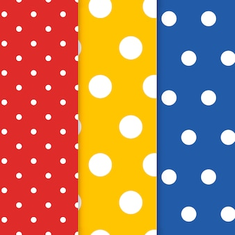 Colorful polka dot seamless pattern vector set