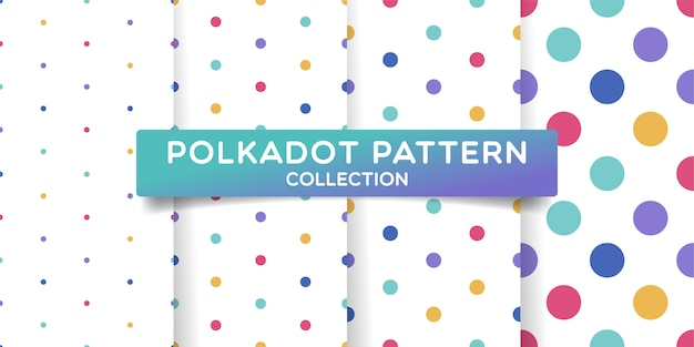 Colorful polka dots seamless pattern collection.