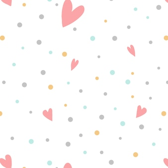 Colorful polka dots with hearts vector