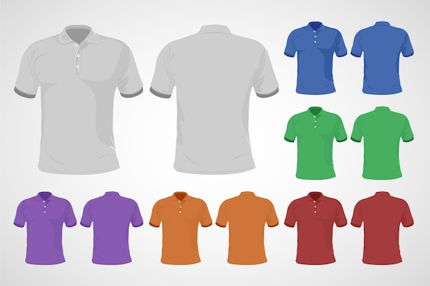 Colorful polo shirt set front and back
