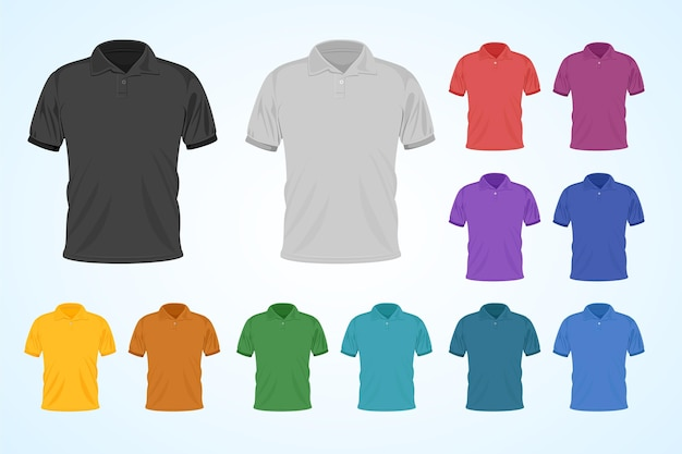 Colorful polo shirt set