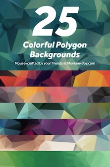 Colorful polygon backgrounds vector pack