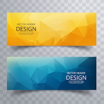Colorful polygon banners