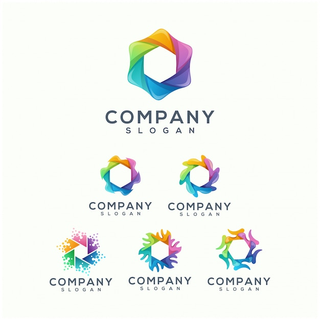 Colorful polygon logo design
