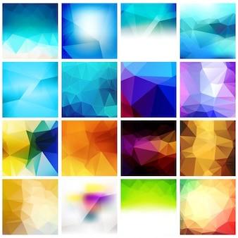 Colorful polygonal background set