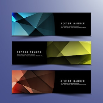 Colorful polygonal banners design