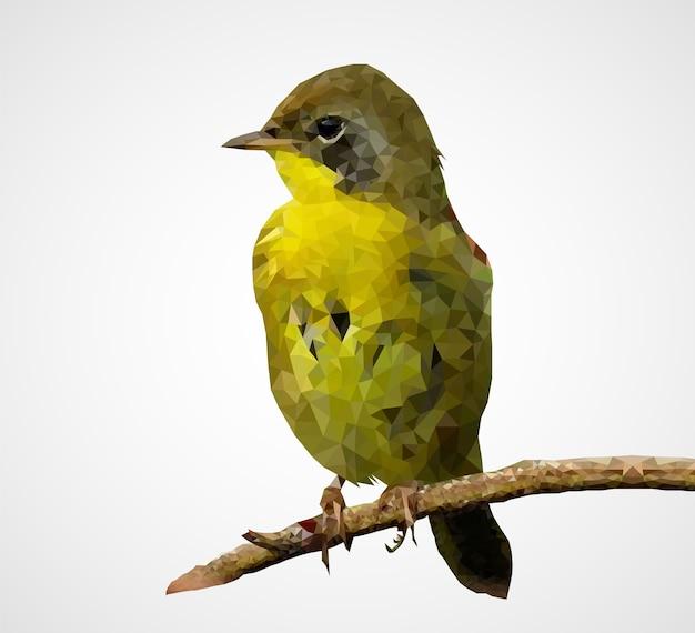 カラフルな多角形の鳥