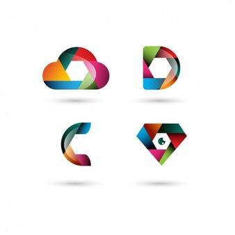 Colorful polygonal logo templates