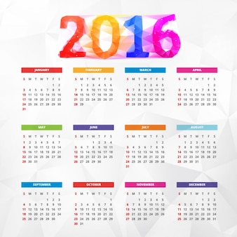 Colorful polygonal new year 2016 calendar