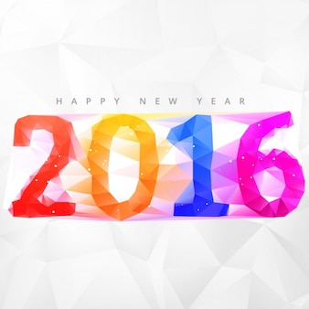 Colorful polygonal new year 2016 numbers background