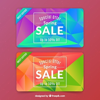 Colorful polygonal spring sale banners