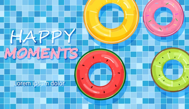 Colorful pool rings on water