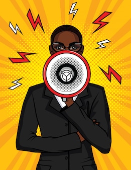 Colorful pop art comic illustration of an african american girl with a loudspeaker in her hand. the business woman speaks in a megaphone. portrait of a boss girl with a mouthpiece