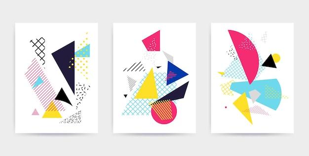 밝은 굵은 블록으로 다채로운 팝 아트 기하학적 패턴 다채로운 소재 디자인 배경