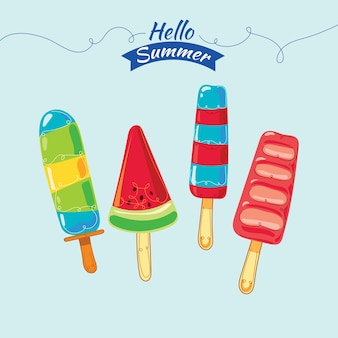 Colorful popsicle ice cream illustration set