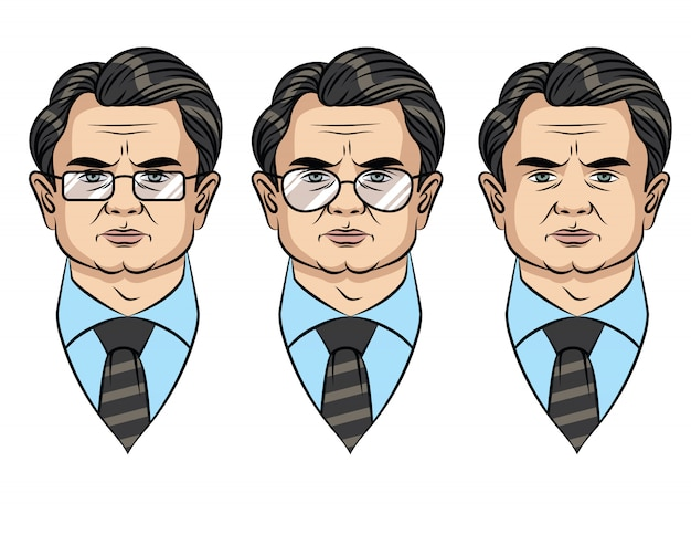 Colorful portrait of a businessman in different style of glasses