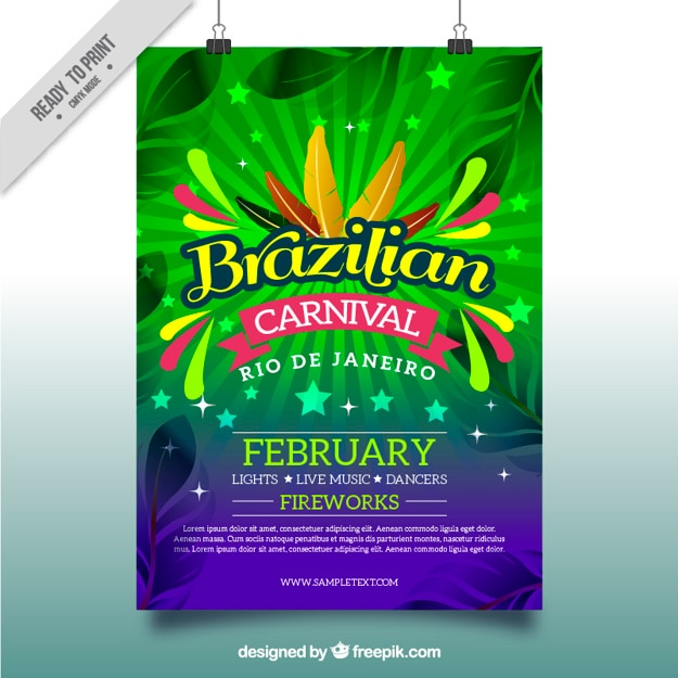 Colorful poster for brazilian carnival