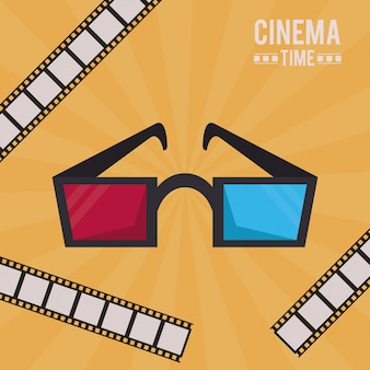 Colorful poster of cinema time with 3d glasses and film tape