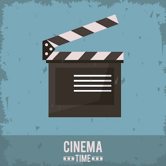 Colorful poster of cinema time with clapperboard icon