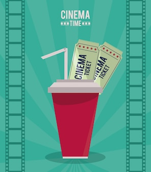 Colorful poster of cinema time with drink and tickets