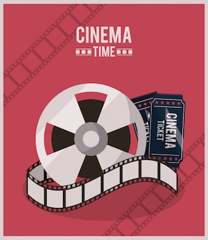 Colorful poster of cinema time with film reel and ticket