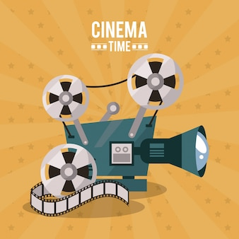 Colorful poster of cinema time with movie film projector