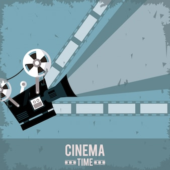 Colorful poster of cinema with film and movie projector